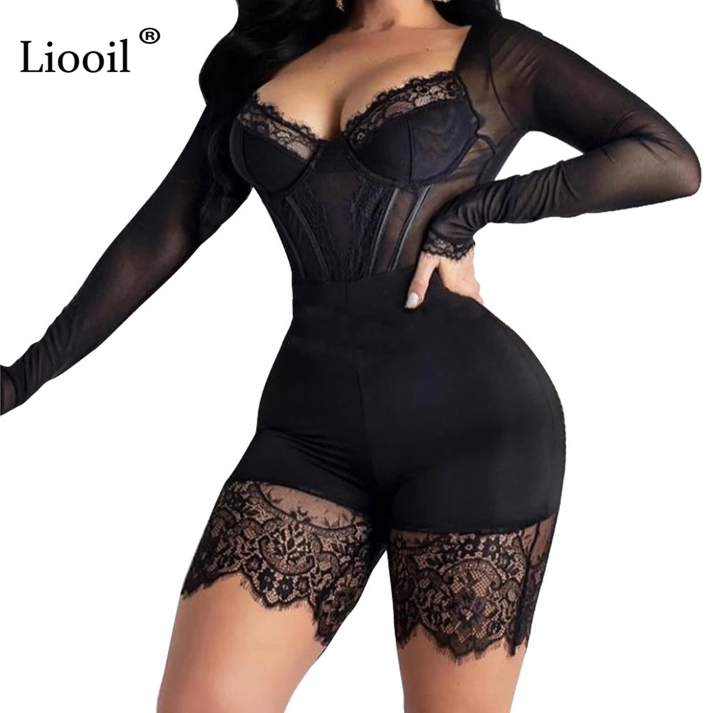 Liooil Black Lace Bodycon Playsuit See Through Jumpsuit Clubwear New Products 2020 Party Rompers Womens Jumpsuits Shorts Onesie