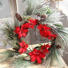Christmas Artificial Flowers Wreath Front Door Decoration Frosted Winter Greens Plant Holiday Home Decor