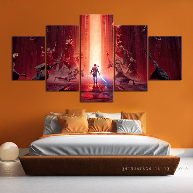 Unframed 5 Piece Star Wars Jedi Fallen Order Video Game Poster Wall Decoration Fashion Wall Sticker Canvas Art Wall Picture Gift image