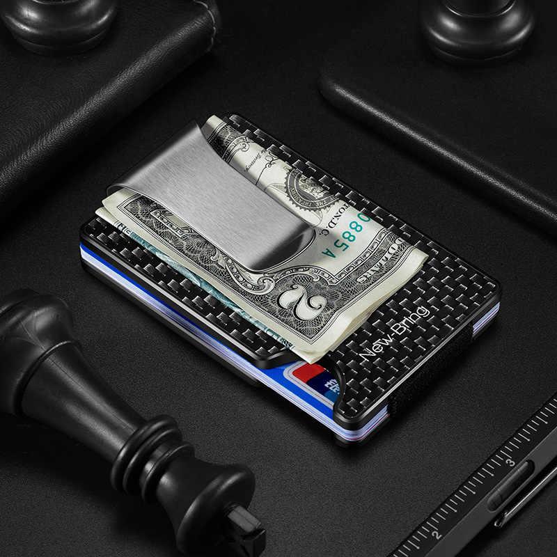 NewBring yeni Minimalist karbon Fiber cüzdan RFID engelleme kart tutucu kredi kartı kılıfı erkekler kadınlar için erkek kadın para çanta