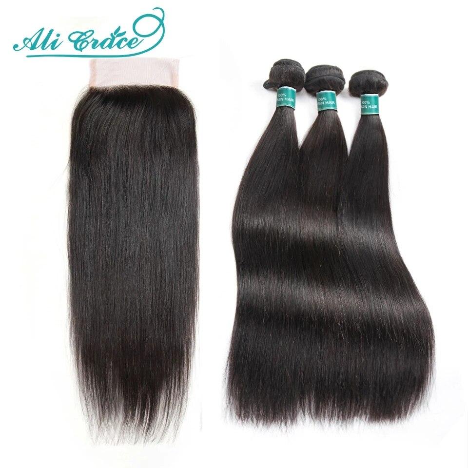 Прямые пряди для волос Ali Grace с закрытием 4x4, бразильские пряди для волос 28 дюймов, пряди для человеческих волос с кружевной застежкой HD