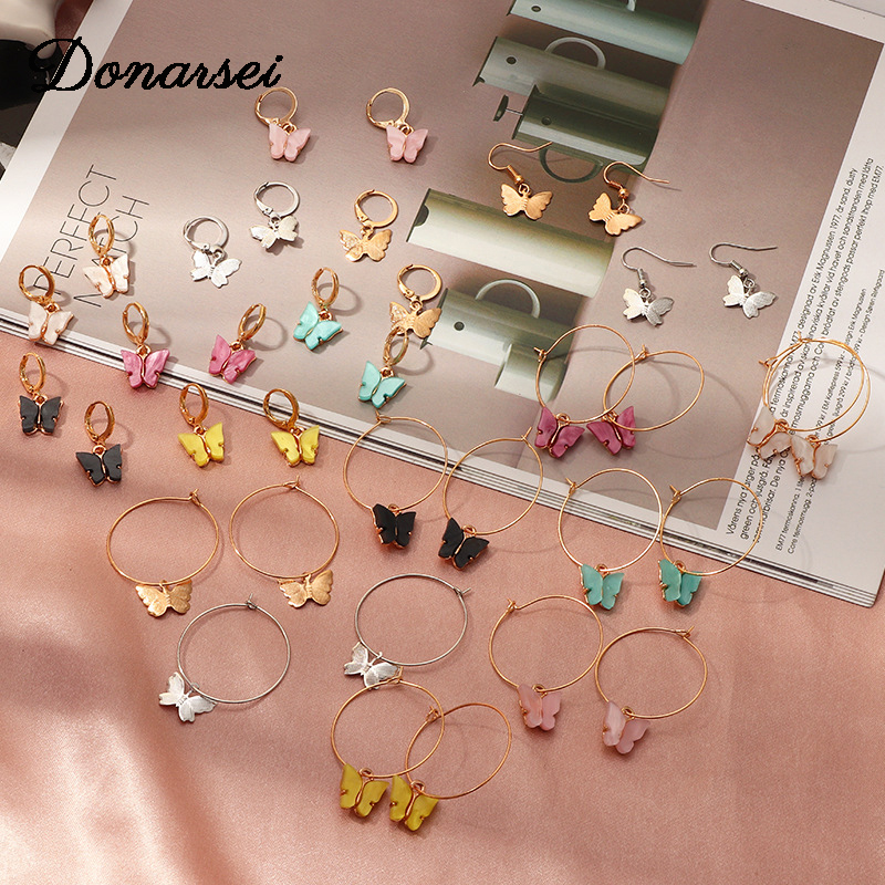 Donarsei 2020 New Fashion Butterfly Drop Earrings For Women Elegant Small Colorful Acrylic Animal Butterfly Dangle Earrings