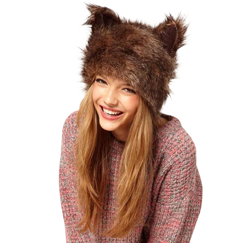 Faux Fur Hood Animal Hat Warm Winter Ear Flaps Animal Hat Cat Plush Warm Earmuff Animal Cap S