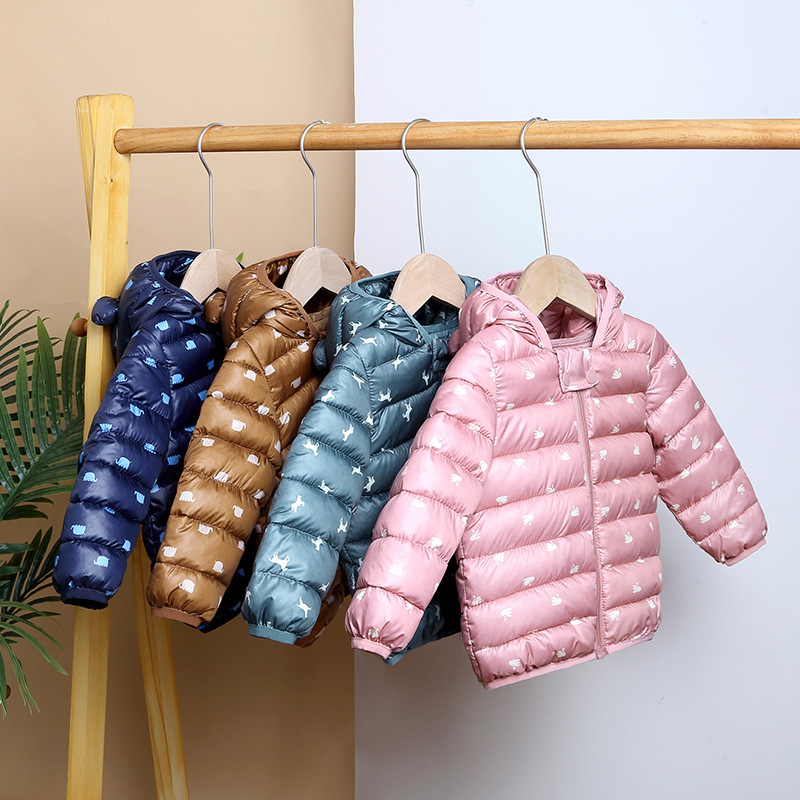 1-4Y Girls & Boys Winter Jackets Baby Kids Hooded Ear Cotton-padded Down Coat Children Waterproof Outerwear Toddler Warm Clothes