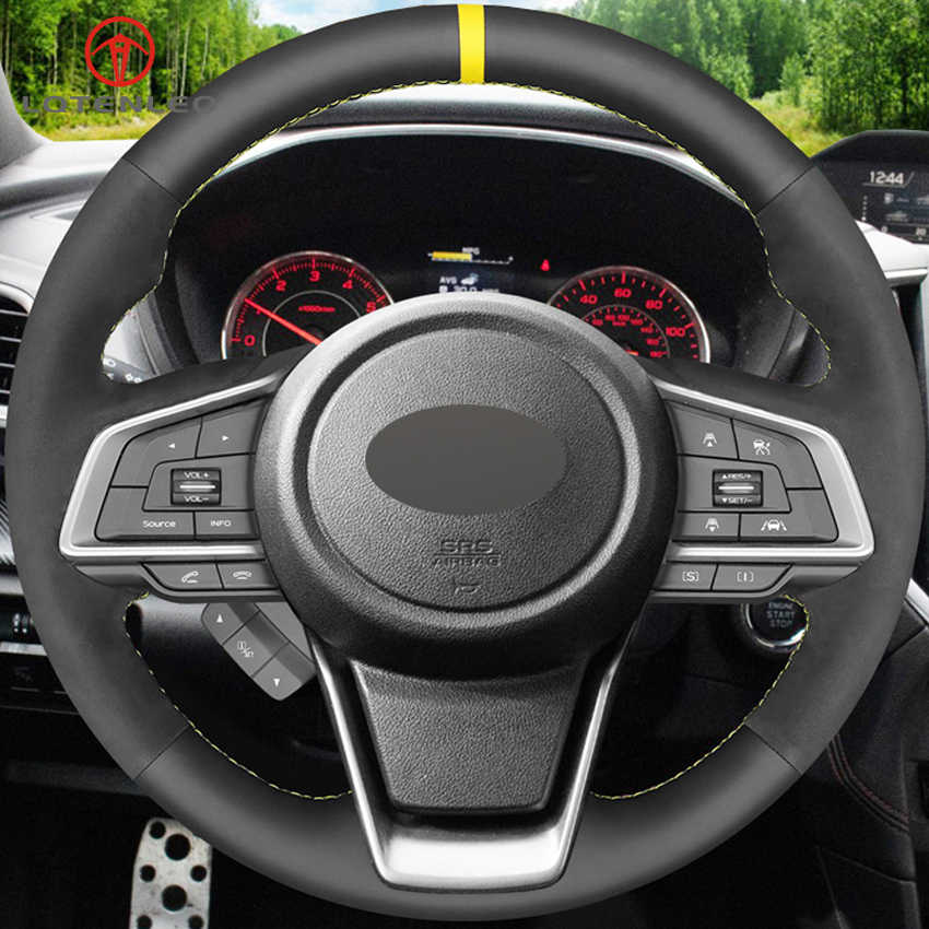 DIY PU Leather Suede Car Steering Wheel Cover for Subaru Forester Ascent Outback