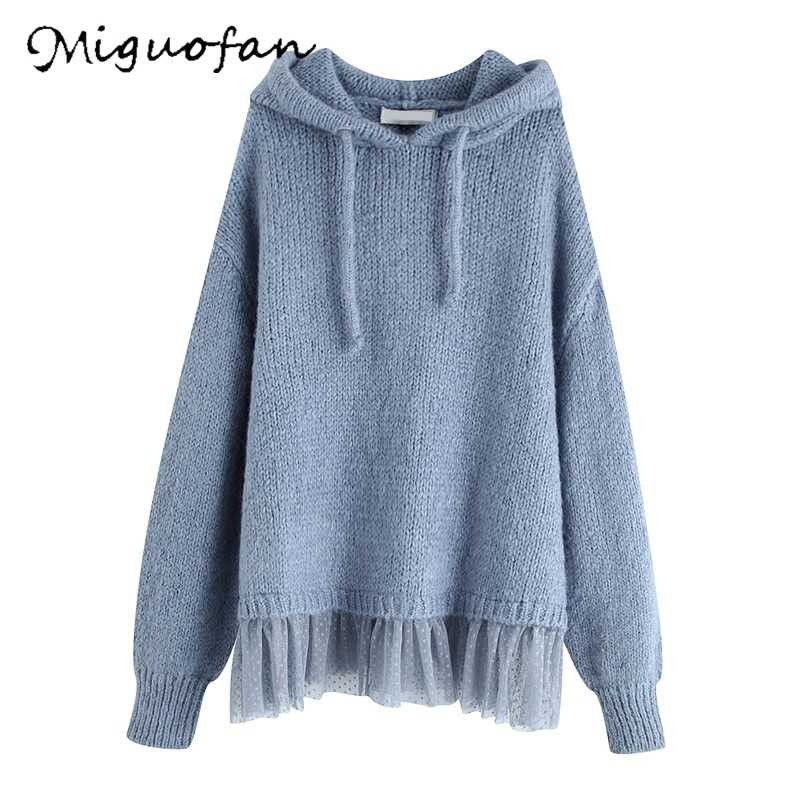 Za Sweater Women Blue Hooded Crop Ladies Sweaters Pullovers Jumpers Winter Poncho Casual Lace Pleat knitted Sweaters Tops