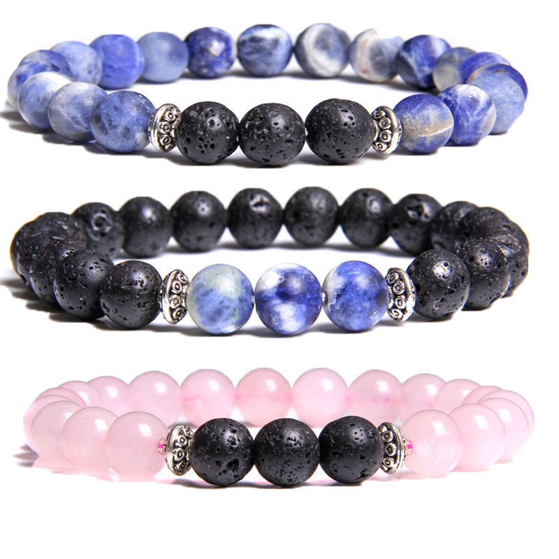 Men Bracelet Natural Black Lava Stone Round 8mm Pink Crytral Beads Charm Bracelets for Women Blue Sodalite pulseras Homme Gift