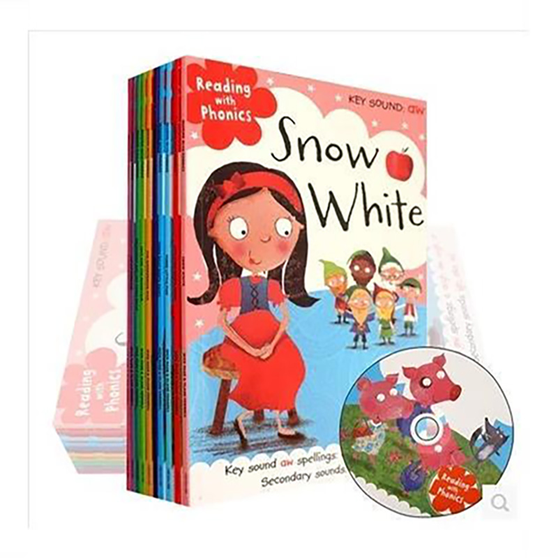 Books 10 Pcs/Set Reading with Phonics Fairy Tale English Picture Book Little Red Riding Hood Early Education Baby Comic Contain