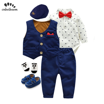 6 piece/lot Newborn Baby boys Clothes Cotton Infant long sleeve rompers vest pant gentleman suits Boys birthday Clothing set levi s baby boys newborn coulter pant