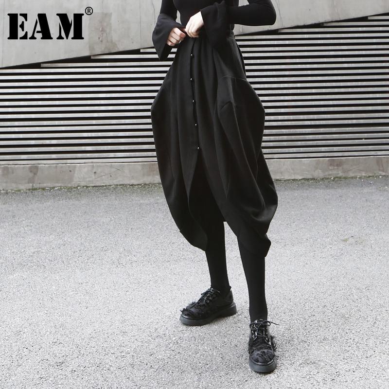 [EAM] High Elastic Waist Black Button Split Joint Temperament Half-body Skirt Women Fashion Tide New Spring Autumn 2020 1D833