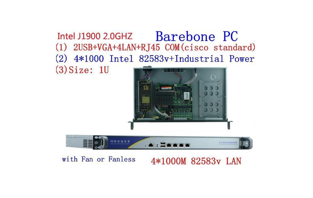 1U Pfsense Celeron J1900 Quad Core Network Security Control Desktop Firewall Router Industry Computer 4 GbE LAN