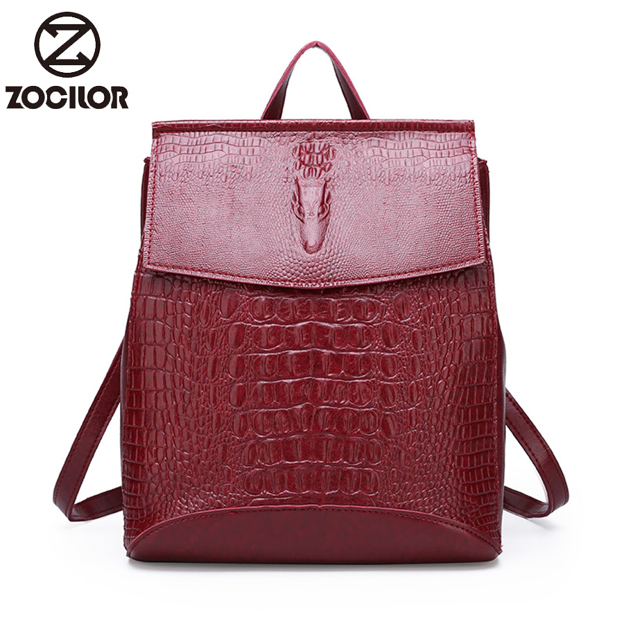 Women Leather Backpacks High Quality 2019 Female Vintage Crocodile  Backpack Travel Shoulder Bag  School Bags For Girls