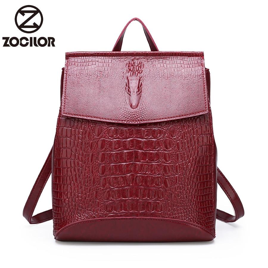 Women Leather Backpacks High Quality 2019 Female Vintage Crocodile  Backpack Travel Shoulder Bag  School Bags For Girls