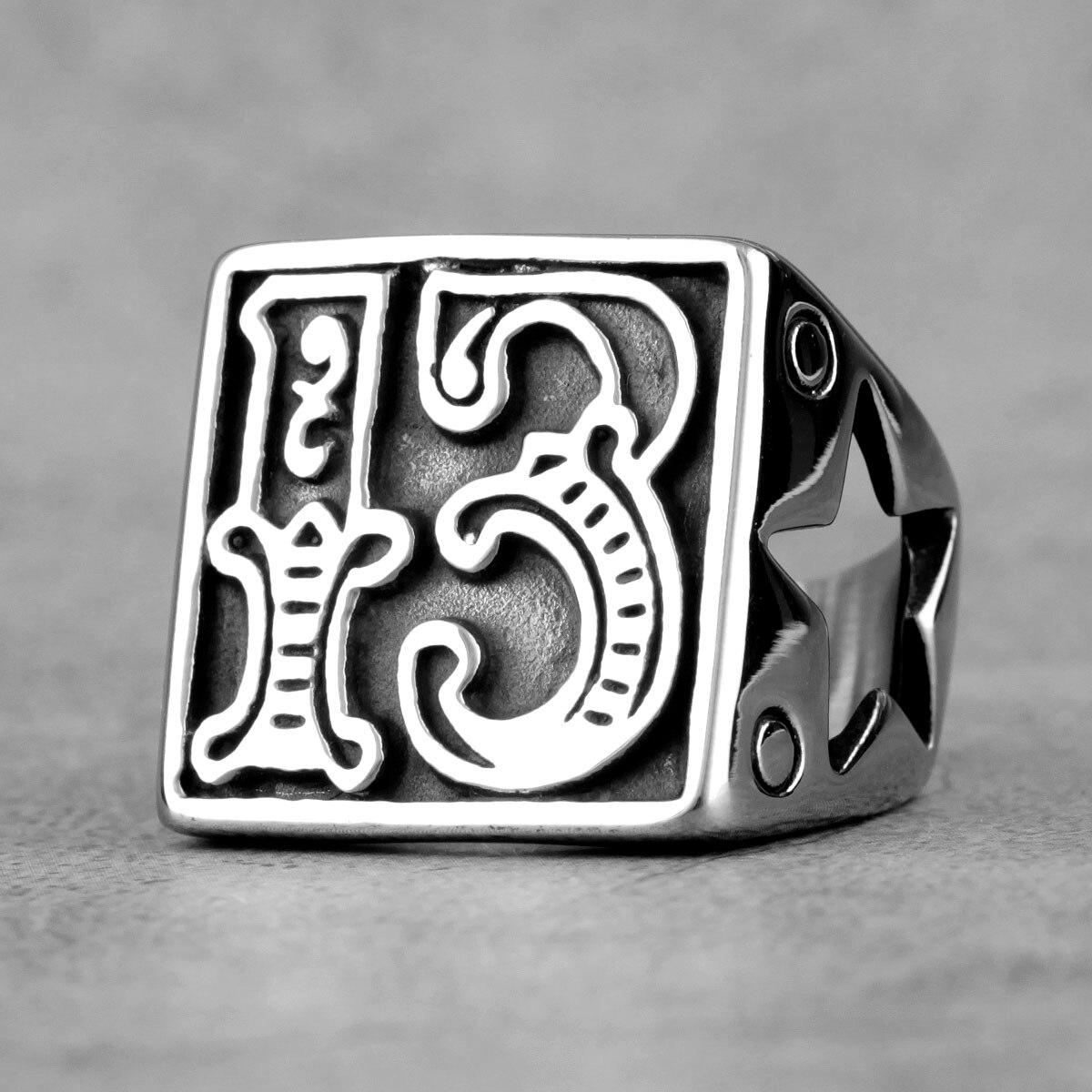Lucky Number 13 Star ретро мужские кольца из нержавеющей стали Панк Хип-хоп для мужчин бойфренд Байкер ювелирные изделия креативный подарок оптовая ...
