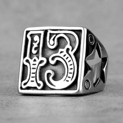 Lucky Number 13 Star Retro Stainless Steel Mens Rings Punk Hip Hop for Male Boyfriend Biker Jewelry Creativity Gift Wholesale