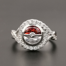 2019 Women Engagement Ring Elf Ball Red White Stone Silver Color Cubic Zirconia Finger Ring Wedding Band Fashion Jewelry  MA047 цена и фото