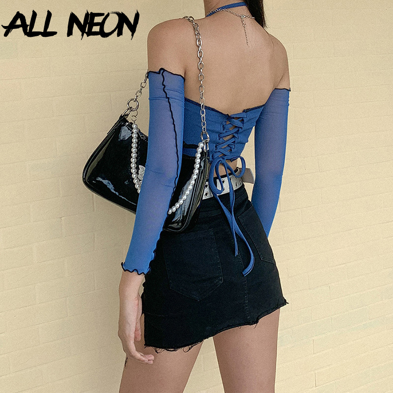 ALLNeon Y2K Fashion Ribbed Anomalistic Hem Cropped Tops  with Mesh Sleeve E-girl Backless Lace Up Halter Tanks Streetwear 90s 4