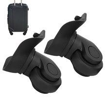 Bir çift dayanıklı A09 siyah bavul sessiz tek sıralı tekerlek evrensel bagaj değiştirme açık malzemeleri bavul aksesuarı