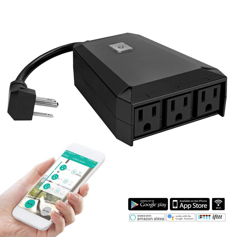 Outdoor Wifi smart socket mobile phone timing switch socket remote control smart home Alexa rules