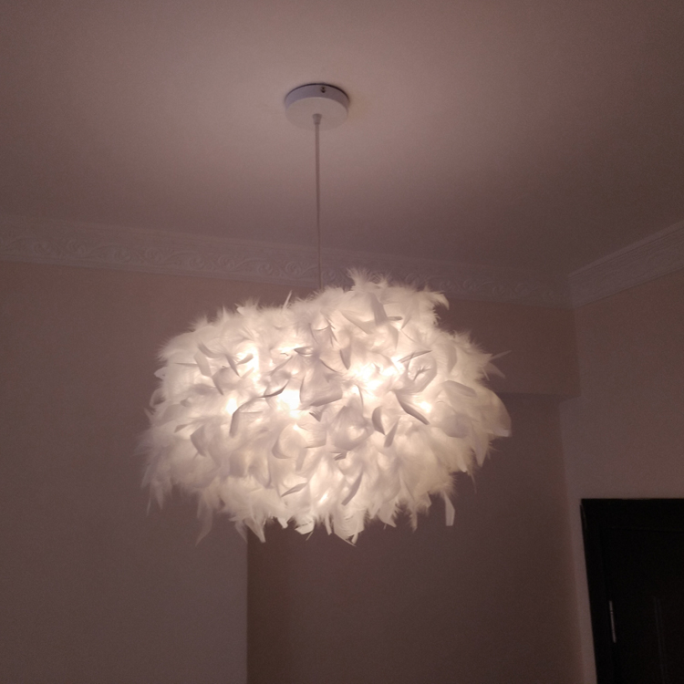 Lamp Living Room Simple Modern Bedroom Feather Chandelier Creative Nordic Postmodern Partial Ball Romantic Chandelier
