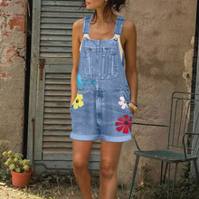 Jeans Jumpsuit Short Romper Denim Women Slim Elegance Plus-Size Sleeveless Button
