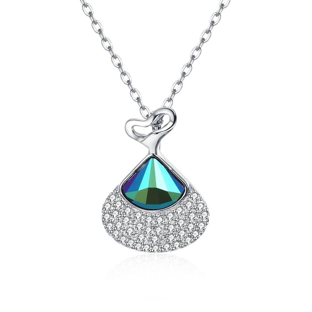 V1095 Original 100% 925 argent Sterling bleu gemme CZ Zircon pendentif collier de mode bijoux de mariage cadeau accessoires