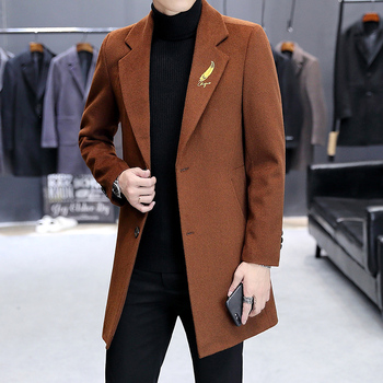 Men's Wool and Cotton Blend Coat Autumn and Winter New Solid Color High-quality Men's Slim Mid-length Lapel Men's Trench Coat