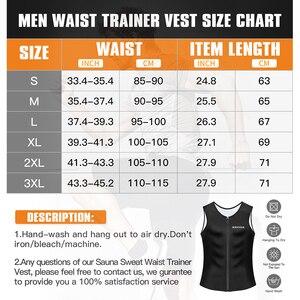 Image 5 - Burvogue suor sauna shaper corpo homens emagrecimento colete thermo neoprene cintura trainer espartilhos zíper shapewear sauna ternos tanque superior