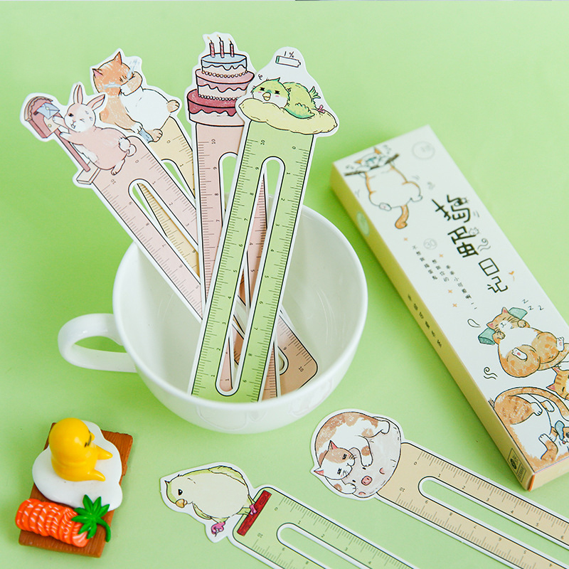 30pcs/lot Cute Animal Cat Paper Bookmark Ruler Line For Book Holder Bookmark Stationery Children School Supplies Kawaii Gift
