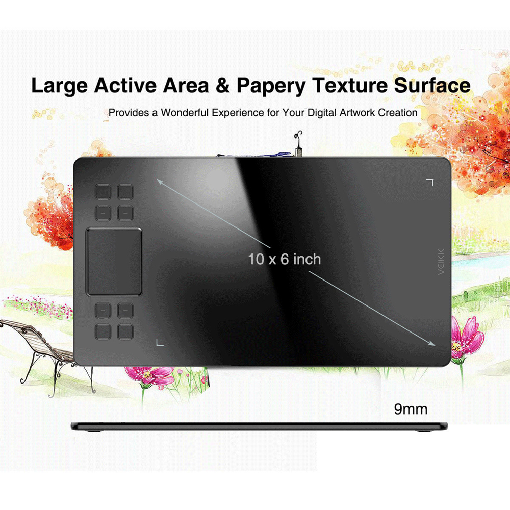 Tablette de dessin graphique VEIKK A50 avec 8192 de sensibilité à la pression (stylo passif sans batterie) périphériques d'ordinateur de tablette numérique - 2