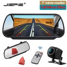 JIEPIE 7 אינץ היפוך מצלמה צג קיט, רכב אחורית חניה לבן מראה צג עם ראיית לילה מבט אחורי מצלמה