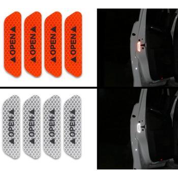 Samochód stylizacji 4 sztuk naklejki drzwi samochodu naklejka taśma ostrzegawcza samochodów odblaskowe naklejki paski odblaskowe znak bezpieczeństwa naklejki samochodowe tanie i dobre opinie CN (pochodzenie) none 4 color about 2 5cm*9cm 4 x Car OPEN Reflective Tape