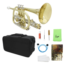 Bb Flat Cornet with Gig Bag Case Gloves Cleaning Cloth Durable Portable Brass Instrument