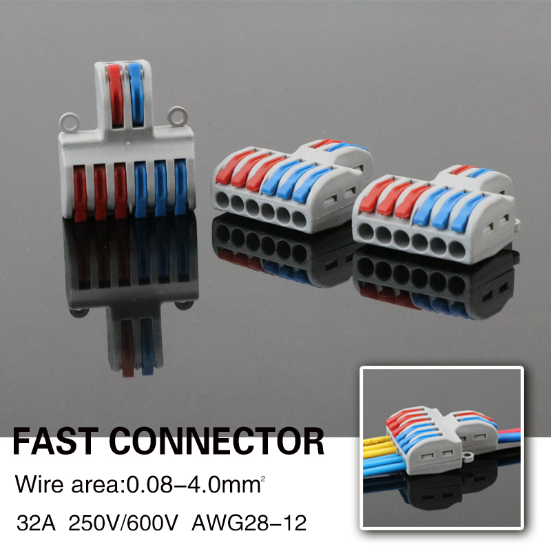 50PC Wire Connector Mini Quick Universal Connection Terminator Compact Terminal Block Plug-in Electrical Cable Eletrico Conector