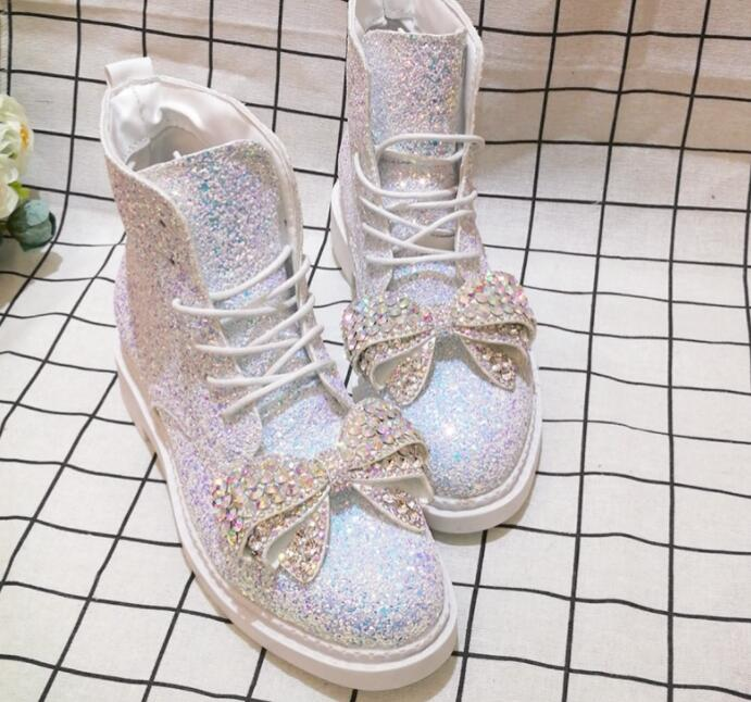 Rhinestone Bow Cute Spring Single Sequins Tide Brand Martin Boots Non-slip Heightening Boots