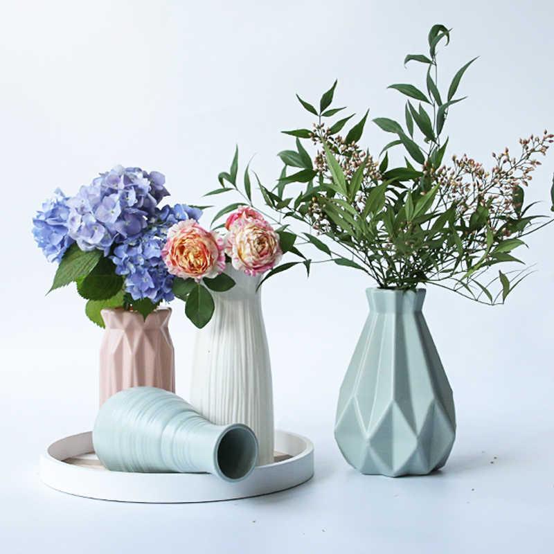 Nordic Vaso di Fiori Cesto di Fiori Origami Artigianato Vaso di Plastica Della Decorazione Della Casa Bottiglia di Imitazione di Ceramica Vasi di Fiori Figurine