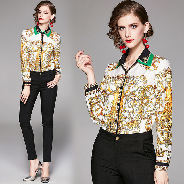 2019 Spring Autumn Design Womans Long-Sleeved Shirt Blouse High Quality Women Printed Office Runway Slim Shirts Tops M-2XL 2