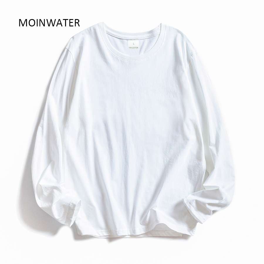 MOINWATER Women O-neck Long Sleeve T shirts Lady White Cotton Tops Female Soft Casual Tees Women's Black T-shirt MLT1901