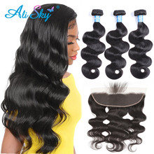 Ali Sky  Body Wave Bundles With Closure Brazilian Hair Bundles With Frontal Human Hair Frontal With Bundle Remy Hair Extensions