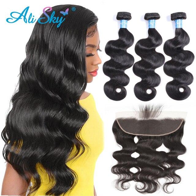 Ali Sky  Body Wave Bundles With Closure Brazilian Hair Bundles With Frontal Human Hair Frontal With Bundle Remy Hair Extensions