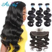 Mèches brésiliennes Remy Body Wave Ali Sky, cheveux humains, avec Frontal, Extensions de cheveux