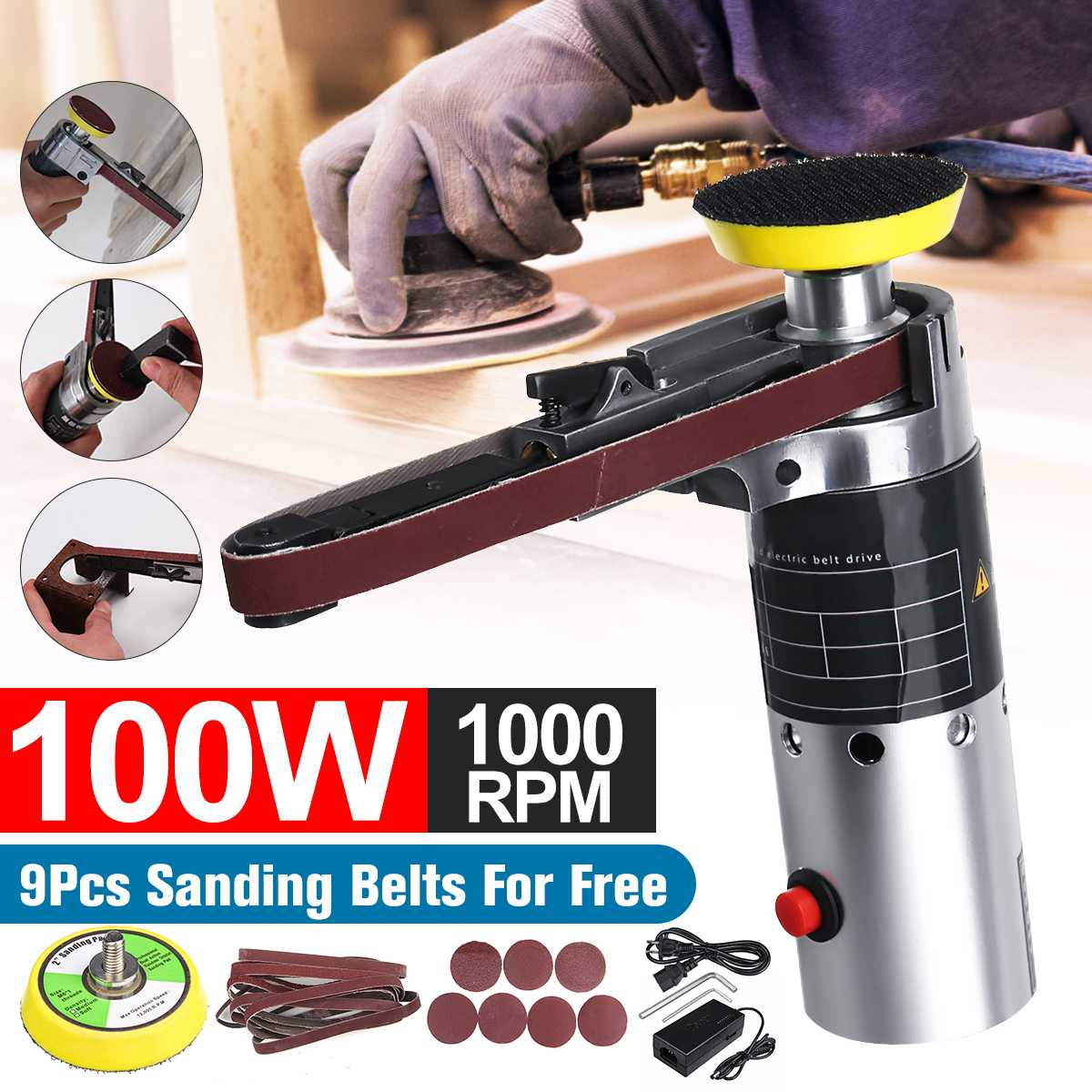 10000rpm Multi-function Mini Grinder DIY Electric Belt Sander Sanding Belt Adapter Grinding Polishing Machine Speed Adjustable