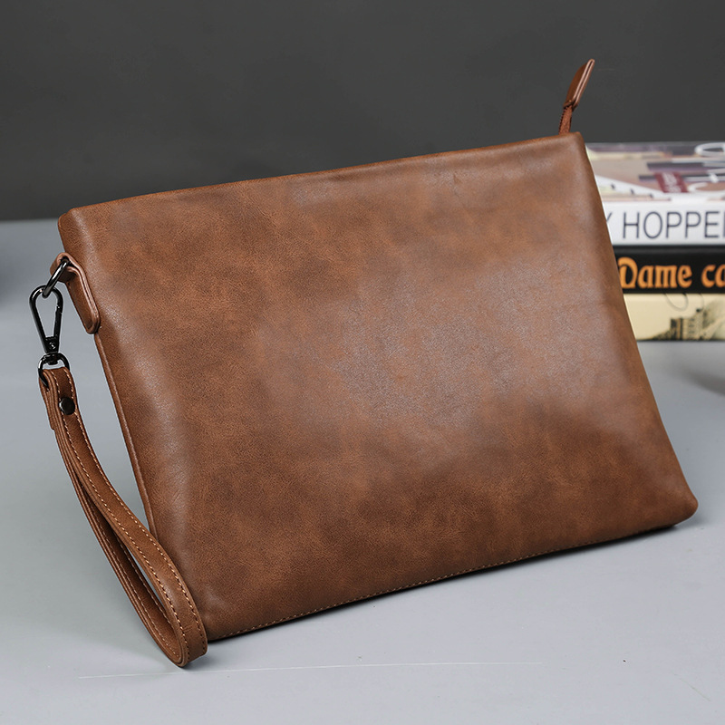 Men's Leather Handbag Fashion Trend Hand Grab Bag Business Double Hand Bag Men Purse Soft Leather Large Capacity Bag PU Leather