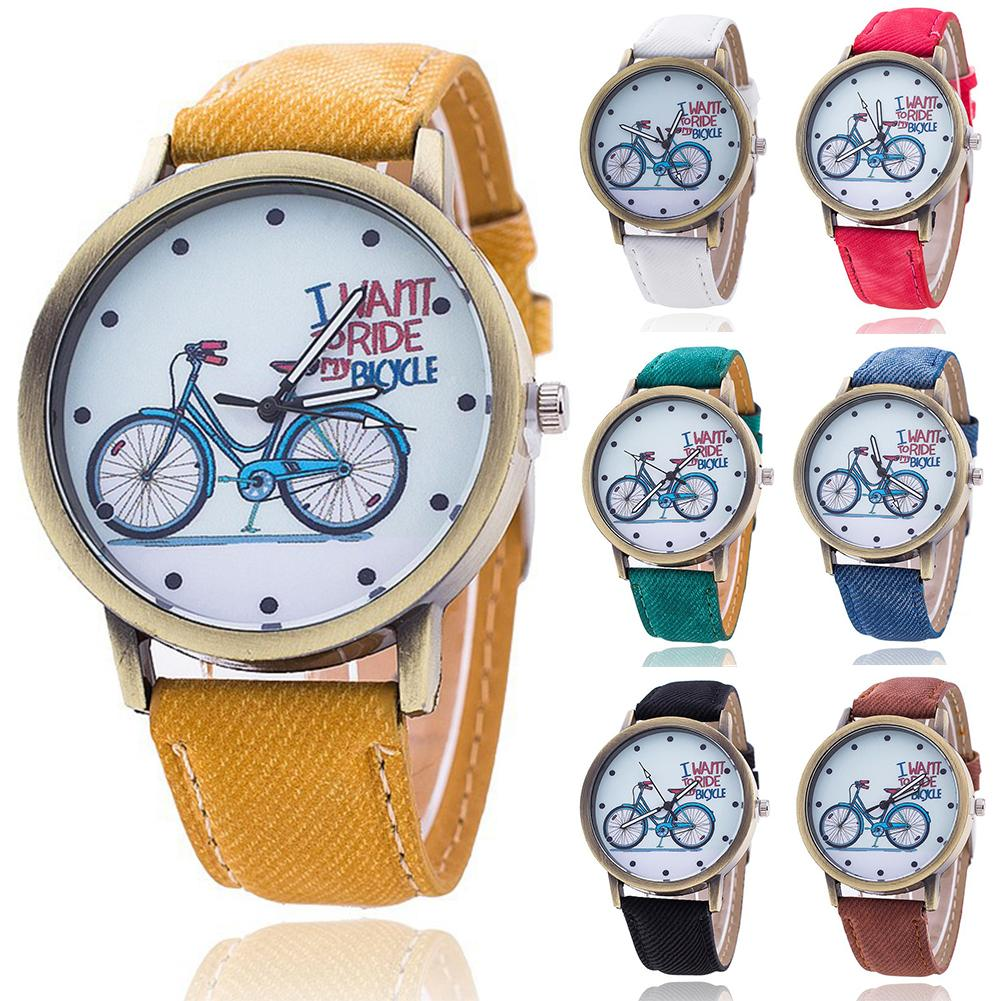 Vintage Denim Bicycle Male And Female Retro Bicycle Band No Number Round Dial Analog Quartz Wrist Watch