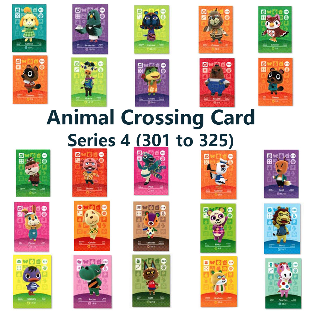 Series 4 (301 To 325) Animal Crossing Card Amiibo Locks Nfc Card Work For NS Games Series 4 (301 To 325)