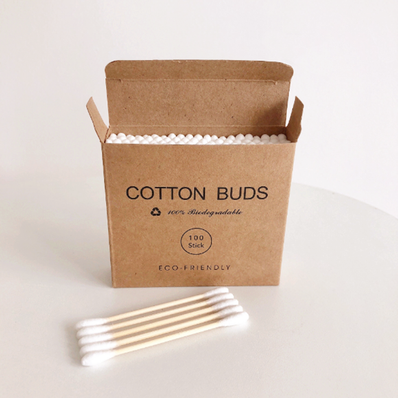 Plastic-Free 100Pcs/Box Double Head Bamboo Cotton Buds Adults Makeup Cotton Swab Wood Sticks Nose Ears Cleaning Health Care Tool