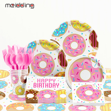 Tablecloth Paper-Plates Shower-Table-Accessories Donut Favors Birthday-Party-Decoration