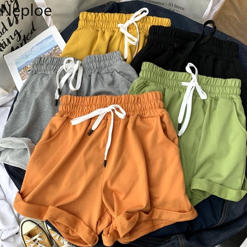 Ruffle Side Summer Elastic Soft Drawstring Home Wear Student Solid Women Shorts