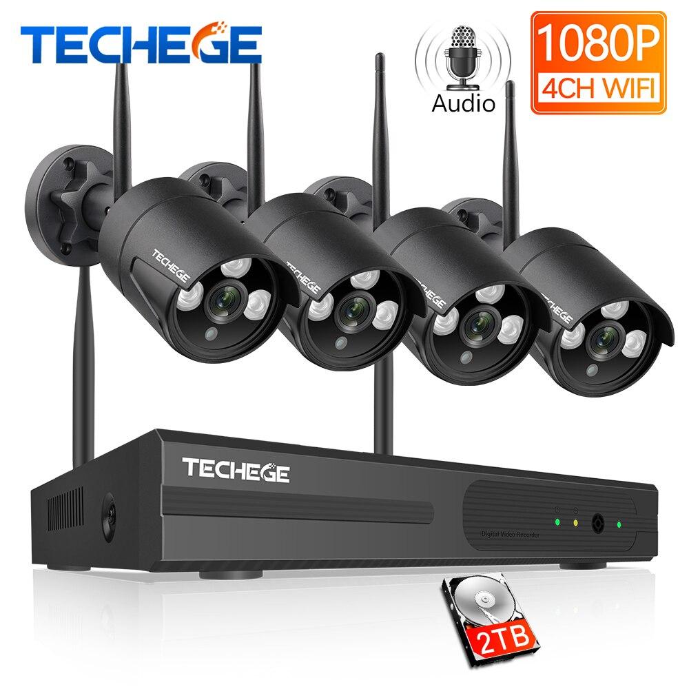 Techege sistema de cctv sem fio 1080 p gravação áudio 2mp 4ch nvr à prova dwaterproof água ao ar livre wifi cctv sistema de câmera de vigilância por vídeo kit
