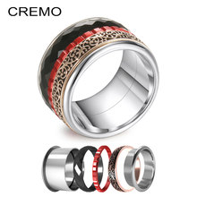 Cremo Vintage Titanium Rings For Women 316L Stainless Steel Weddding Ring Hallowmas Band Interchangeable Innter Femme